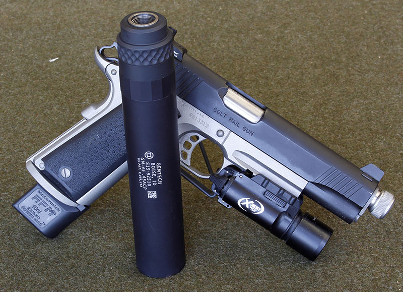 Add a Gemtech GM-45 suppressor to a rail gun with mounted light and you have a gun that should handle any mission.