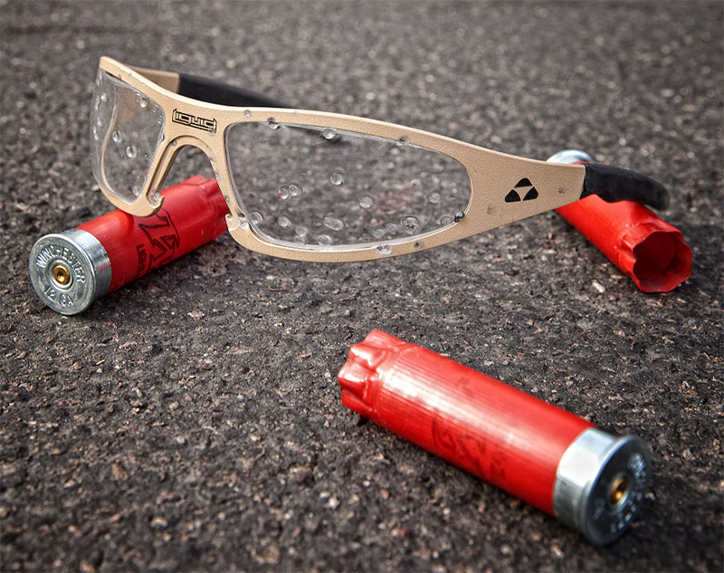 Liquid Eyewear Player model after being shot with Winchester 12-gauge 2¾-inch #6 birdshot shells at 25 yards. None of the shot penetrated. This is a much greater level of protection than required by ANSI Z87 standards. Photo: Liquid Eyewear