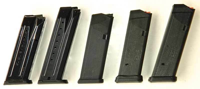 PC Carbine was evaluated with (left to right): Security-9 15-round, SR-9 17-round, OEM Glock and Glock PMAG 15-rounders, and Glock PMAG 17-round.