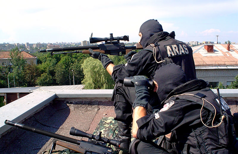 Snipers from Lithuanian CT unit ARAS, armed with PGM UR in a countersniper position. Photo: ARAS