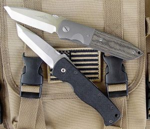Emerson CQC-7BW has its genesis in Emerson's custom handmade CQC-6. The CQC-7 was originally licensed to Benchmade, which sold it under the model name BM970 or BM975 depending on blade length. Emerson CQC-6 (top) and Benchmade BM970. Photo: Dave Mundell