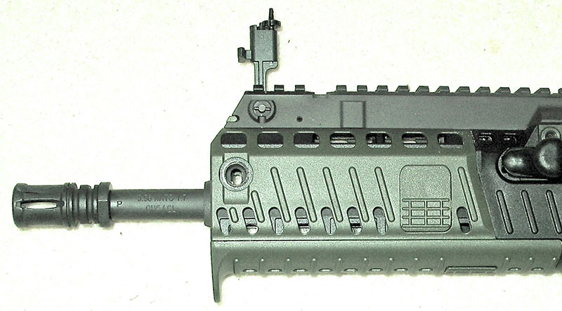 Muzzle end has A2 flash suppressor, removable foregrip panels, fully adjustable front BUIS, and extensive dorsal rail.