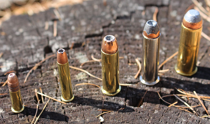 Left to right: .22 LR, .22 Magnum, .38 Special, .357 Magnum, and .44 Magnum. Which is best for you?