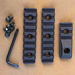 R.E.P.R. comes with two 3.5-inch rail sections, a rail section with QD sling mounts, screws and Torx wrench.