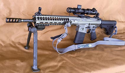 Rifle as tested with Vortex scope, TangoDown bipod, and Blue Force Gear sling.