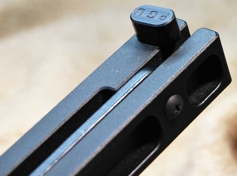 Small bolt holds limbs in place to prevent side-to-side motion.