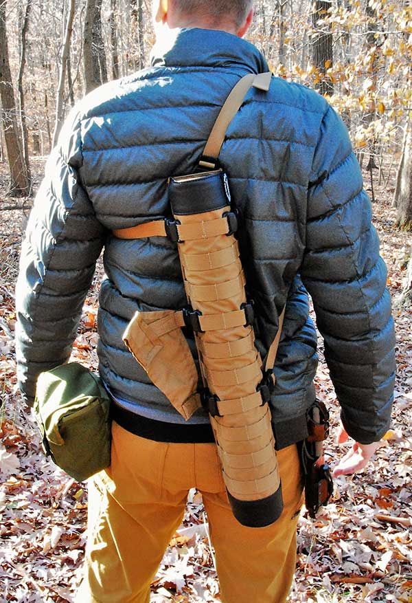 Primal Gear's quiver offers a variety of carry options with the included attachments. Carry on the back or on the belt is possible with this well-designed quiver.