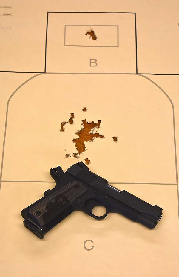The .45 shot as it should, from two to 25 yards.