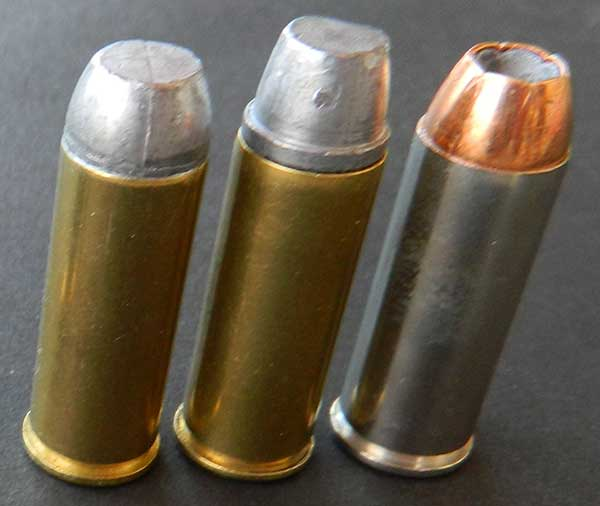 Loads author uses in .45 include, left to right: 230-grain flat nose, round point, and 255-grain semiwadcutters and 230-grain hollow points.