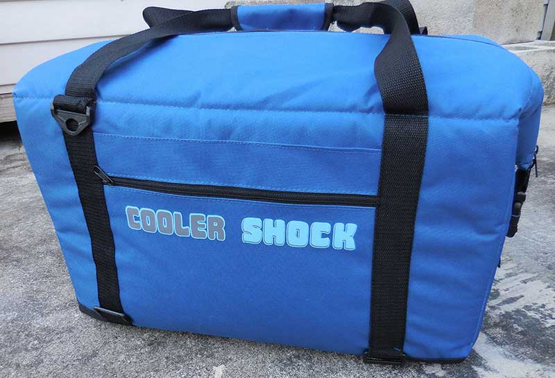 Cooler Shock 24-hour no-ice, soft-sided cooler is available in two sizes: 24 and 48 can (48-can model shown here). Soft cooler is designed with R5 insulation and features carry handles and adjustable shoulder strap.