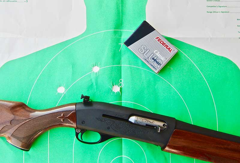 Fifty-yard 4.5-inch group with Federal 20-gauge slugs. Not only is custom Remington 20-gauge 1100 Combat Shotgun comfortable to shoot, but it is also quite accurate, especially using the peep sight.