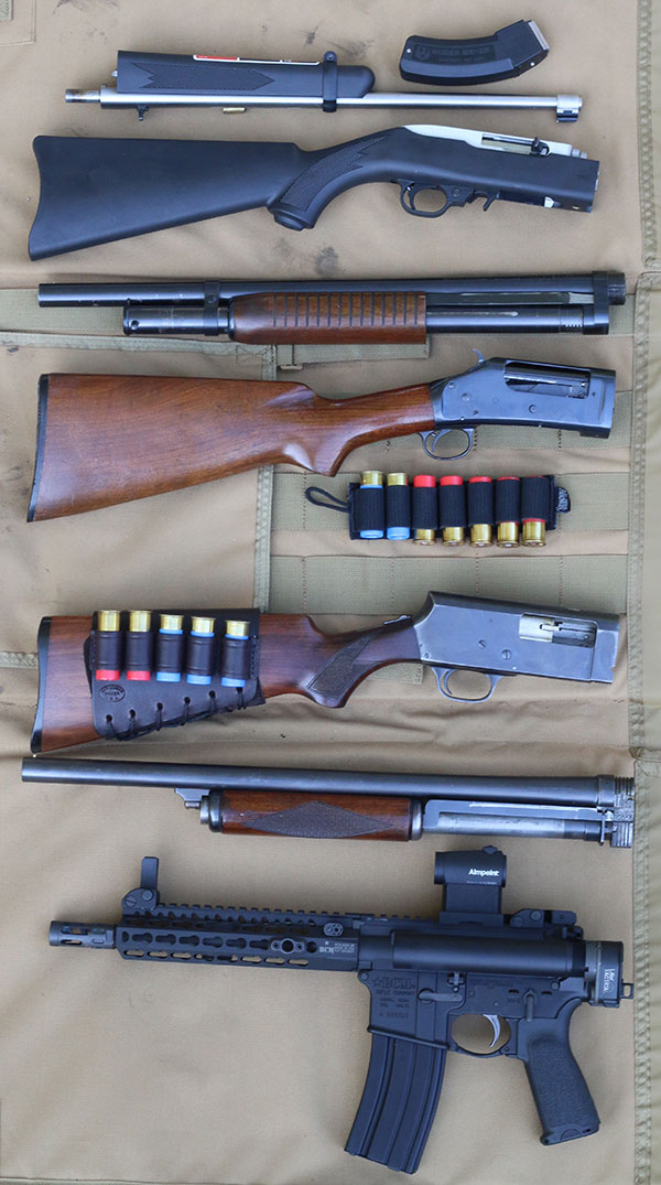 Variety of takedowns spanning multiple applications and eras were tested. Top to bottom: Ruger 10/22 Takedown, 97 Winchester, Stevens 520, and BCM Recce 9 .300 Pistol.