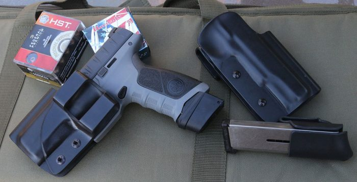 Ready Tactical uses a minimalist one-piece design that has the belt loop formed integrally, as seen on this holster for the Beretta APX.