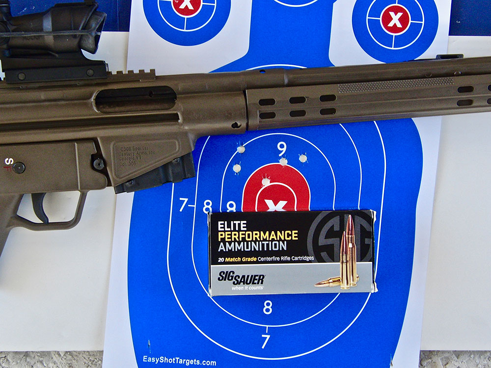 Five-shot 100-yard 2.75-inch group with SIG Sauer 168-grain Match ammo.