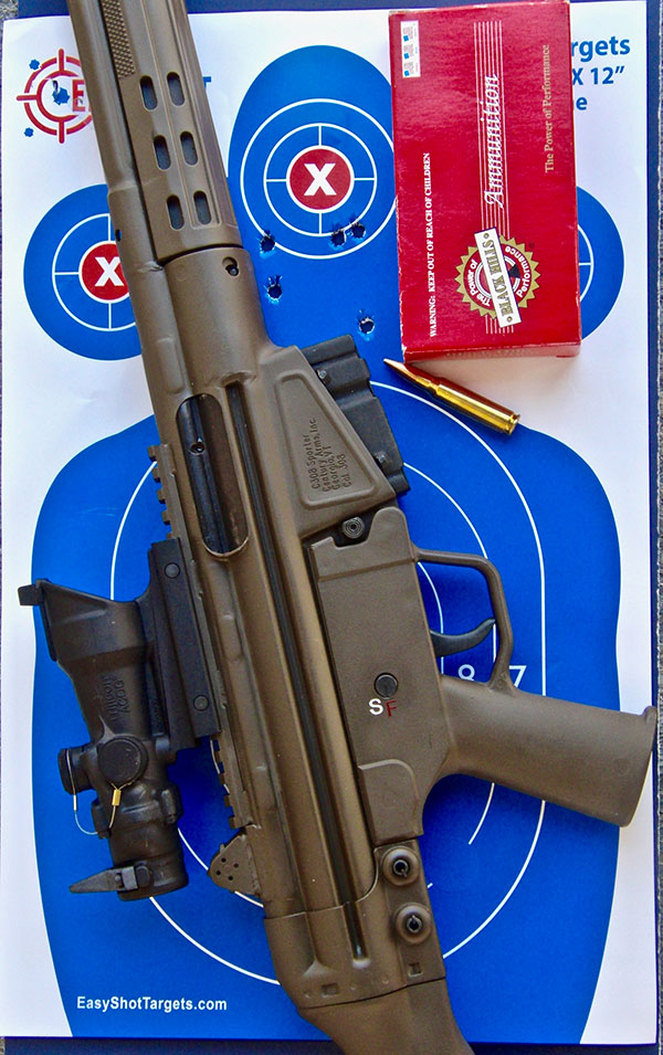 TA01NSN-308/C308 combo shot quite well, as this 2.5-inch five-shot 100-yard group with Black Hills 168-grain Match ammo shows.