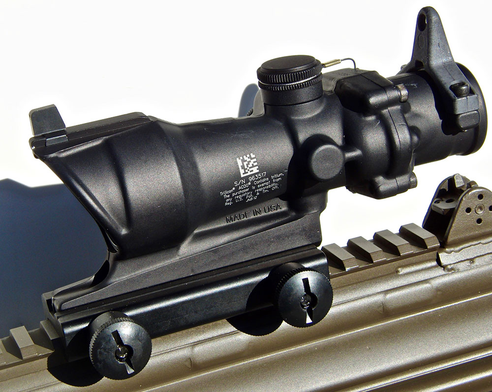 Trijicon ACOG TA01NSN-308 4x32mm mounted on Century C308. Note BUIS atop ACOG.
