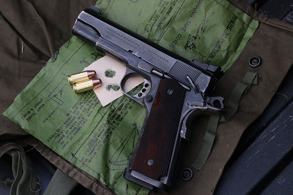 Wilson Match loads shot consistently well across a number of pistols, with groups like this five-shot knot out of a vintage custom 1911.
