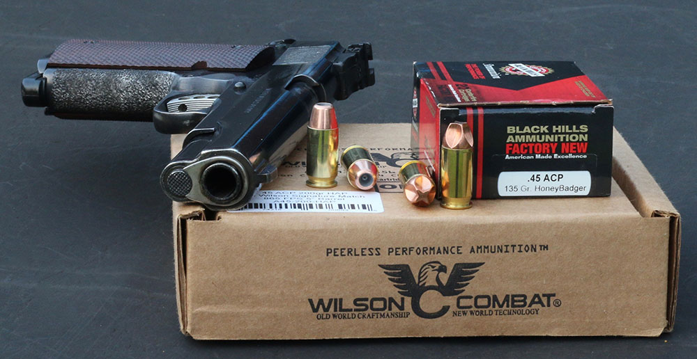 .45 ACP shooters can move beyond traditional hardball with Black Hills' HoneyBadger defensive fluted copper cartridges or Wilson Combat's Signature Match loads.