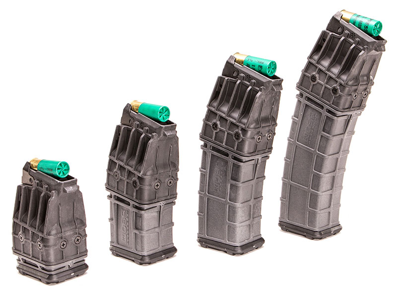Left to right: five-, 10-, 15- and 20-round mags.