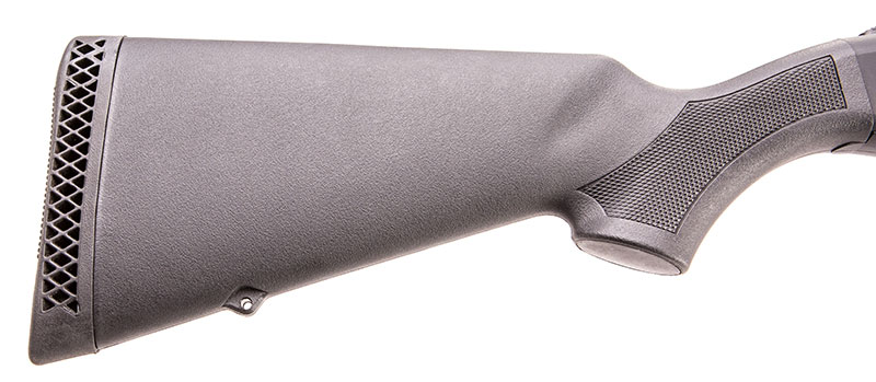 Pistol grip area of stock has molded-in checkering, rubber recoil pad, and integral rear swivel stud.