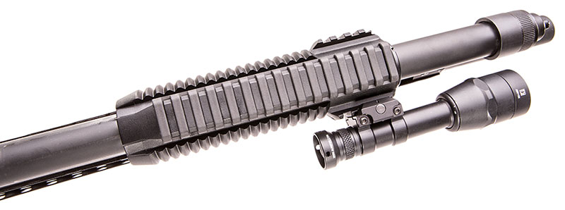 Rail on bottom of forend. Ladder-type rail cover (included) reduces abrasion to the hand.