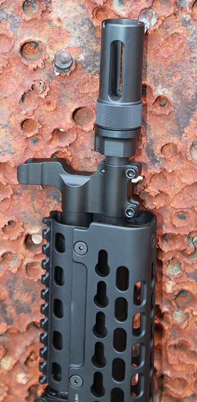 Proprietary Krebs items such as front gas block, forend, and muzzle device separate PD-18 from other AK pistols.