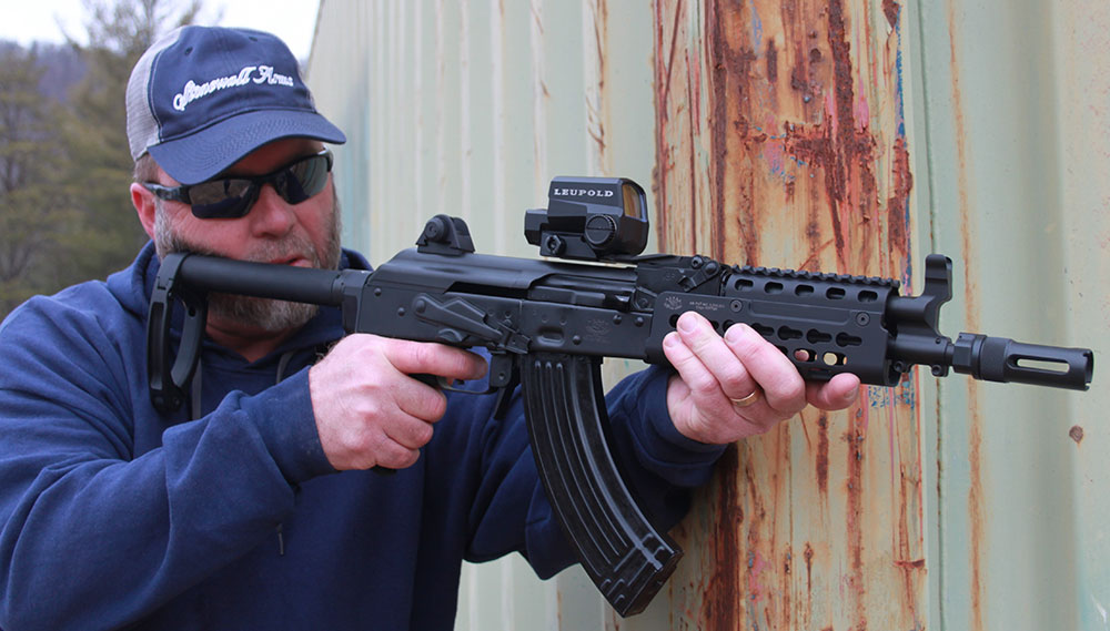 Quick double take is needed when initially viewing Krebs PD-18 AK pistol, due to stabilizing brace.