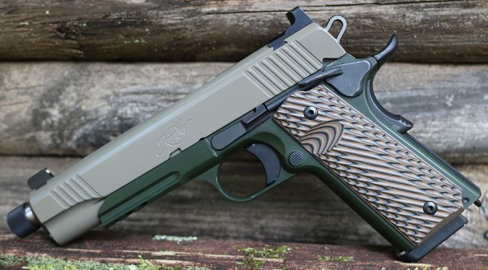 Kimber Warrior SOC TFS includes all the bells and whis-tles. Rough G10 grips improve handling, while robust two-tone finish just looks cool.