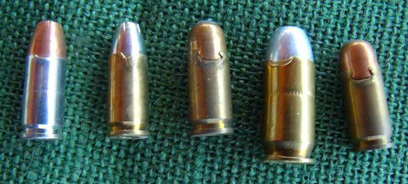 Torn case mouths on these 9mm and .45 rounds would prevent them from functioning.