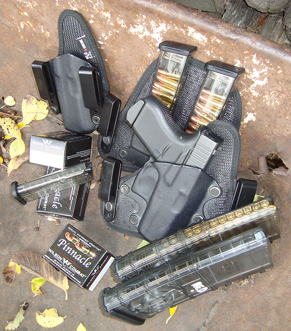 ETS clear mags in nine- and 12-round capacities, and their clip-together AR-15 30-rounders, worked well in testing. Seven-rounder for Glock would seat only when loaded with six rounds. Stealth Gear ended author's search for secure, comfortable G43 rig with enough forward rake. Wilson Combat's loading of superlative Barnes 115-grain all-copper TAC-X bullet is on the milder side for compact pistols, resulting in more reliability and shootability.