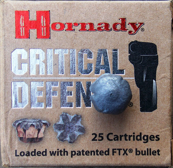 Even in short Kimber K6s barrel, Hornady Critical Defense loading expanded well.