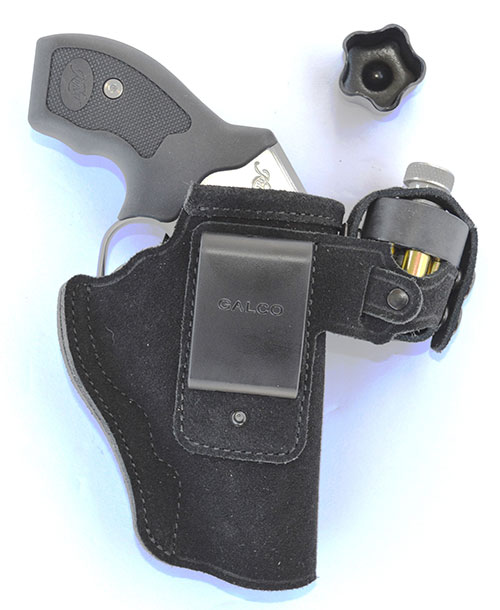 Galco Walkaway is excellent all-around design for Kimber revolver that combines a speedloader pouch. Insert is for use with five-round speedloader.