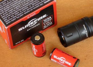 Tactician is powered by pair of 3-volt 123A lithium batteries. Author recommends SureFire 123A batteries, which are designed for high-drain applications and can be bought in bulk to save money.