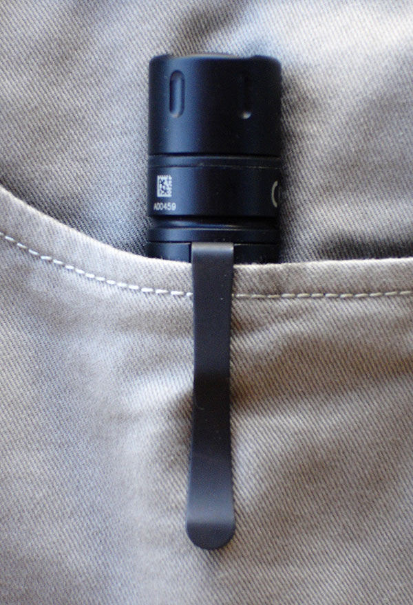 Tactician is equipped with an extra-beefy pocket clip for bezel-up carry in pocket, pack, or purse. It can also be clipped on a hat brim for use as an expedient headlamp.