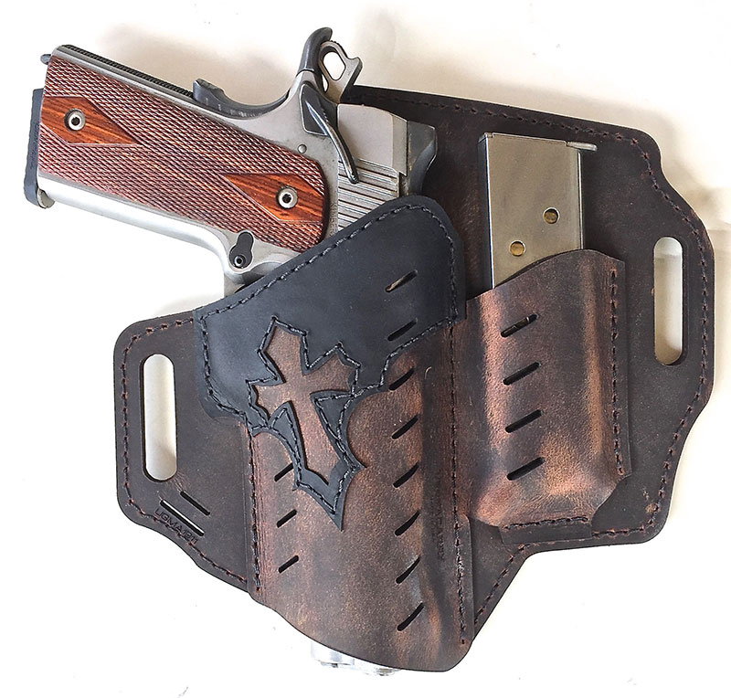 Versacarry Arc Angel holster. Made from water buffalo hide, holster has a dark brown distressed finish.