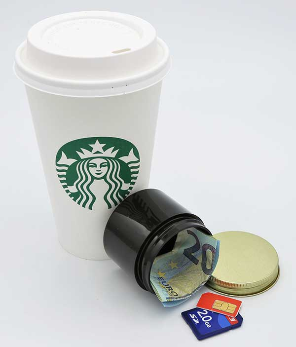 Covert Coffee with money and SD cards in waterproof container. Container fits most store- and café-bought cups.