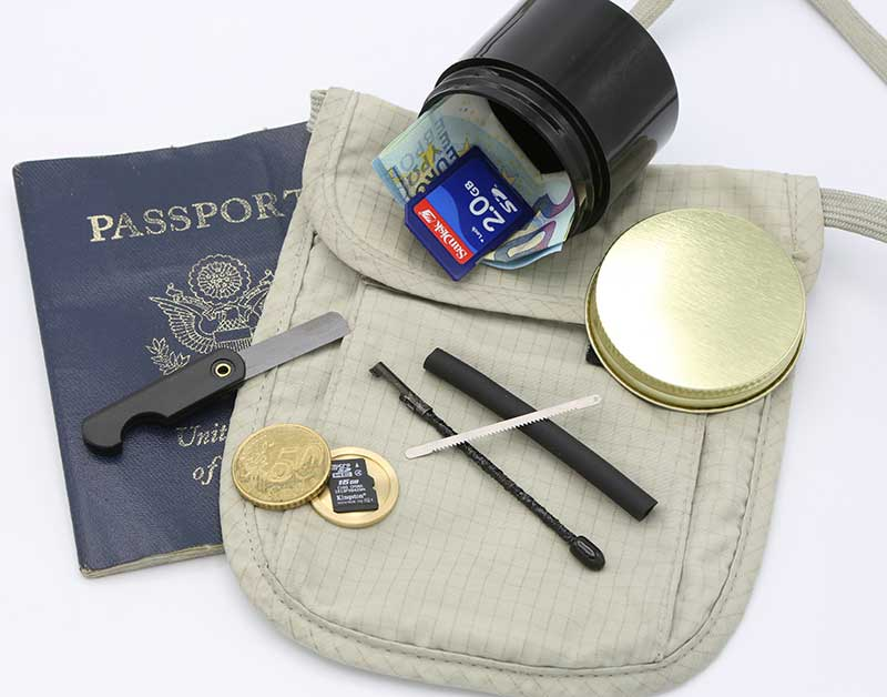 Shomer-Tec products sure to meet traveler's needs: Covert Coffee, Escape Stick, Covert Coin, and Ceramic Folding Razor Knife.