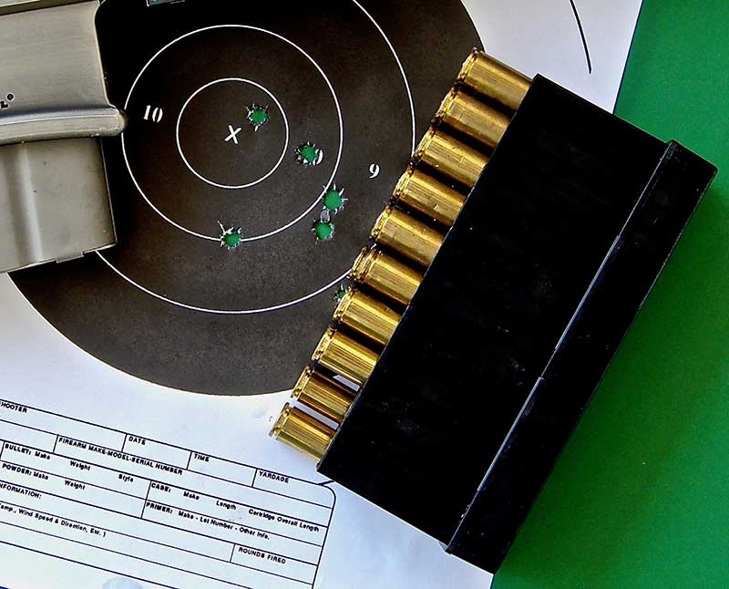 Five rounds of Nammo Lapua 250-grain .338 LM fired at 300 yards from DRD Kivaari Takedown sniping rifle into two inches.