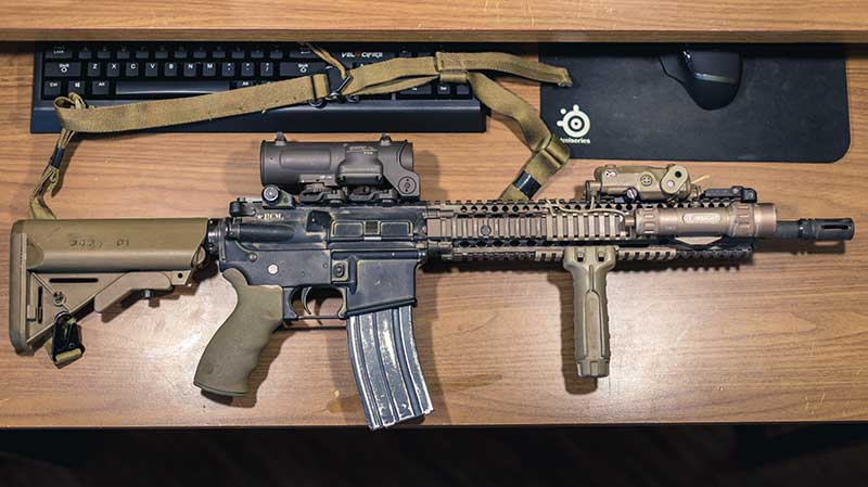 Two great examples of ARs outfitted to mimic military-issue carbines. SOPMOD Block II equipped AR and …