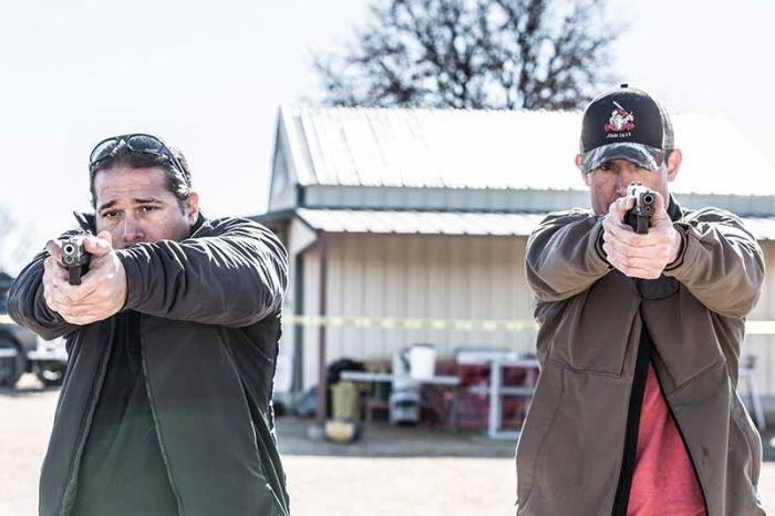 "Dave ""Boone"" Benton (left) and Kris ""Tanto"" Paronto passed on skills to 29 enthusiastic students."