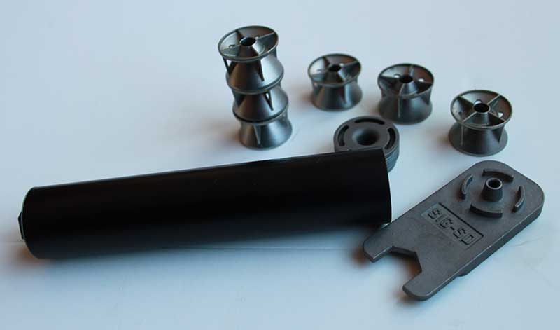 SIG suppressor disassembled, with baffles removed.