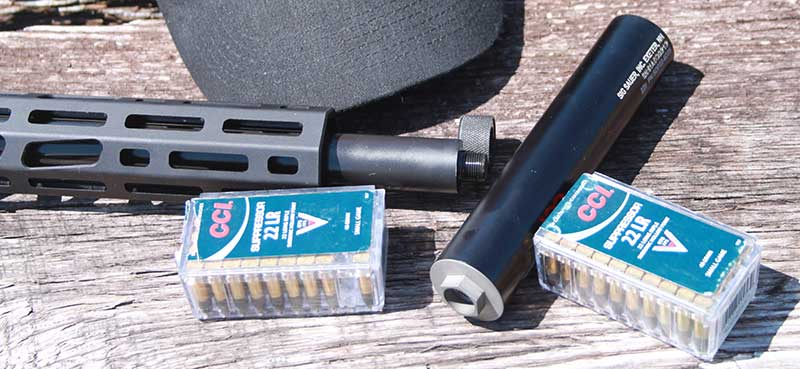 SIG Sauer SRD22 suppressor threads directly onto rifle's muzzle.