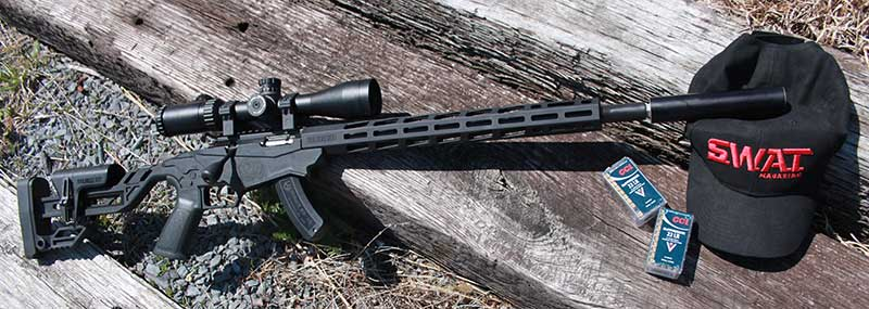 SIG Sauer SRD22 mounted on Ruger Precision Rimfire rifle.