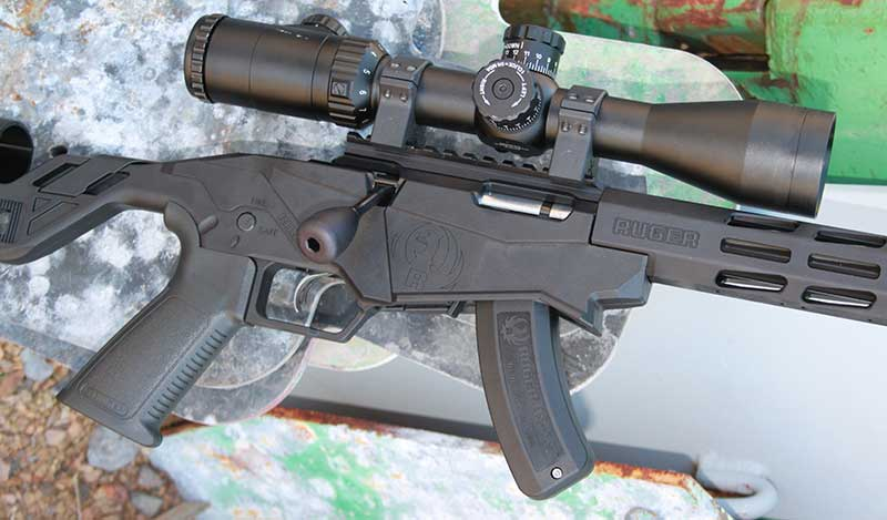 30 MOA Picatinny rail on receiver assists in simple mounting of optics, such as 30mm tube Weaver KASPA 2.5-10X.