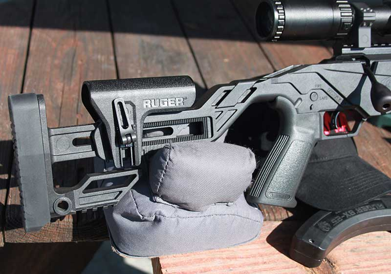 Buttstock cheekpiece is adjustable for height and location.