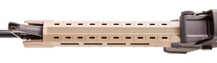 MOE SL Hand Guard has M-LOK slots at two, six, and ten o'clock positions to allow attachment of optional Picatinny rail for mounting lights, slings, grips, etc.