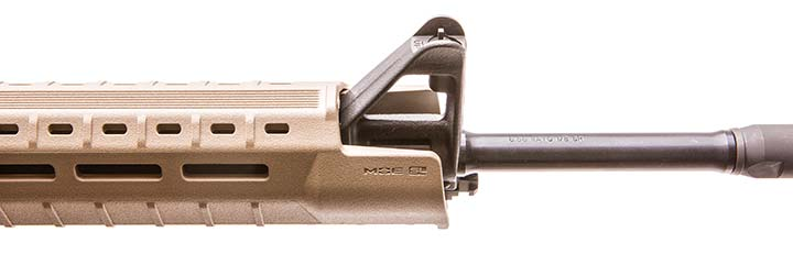 Opening on top of Magpul MOE SL Hand Guard allows A2 sight to protrude through it, while lower lip protects user from hot front-sight assembly and maximizes useable handguard length.