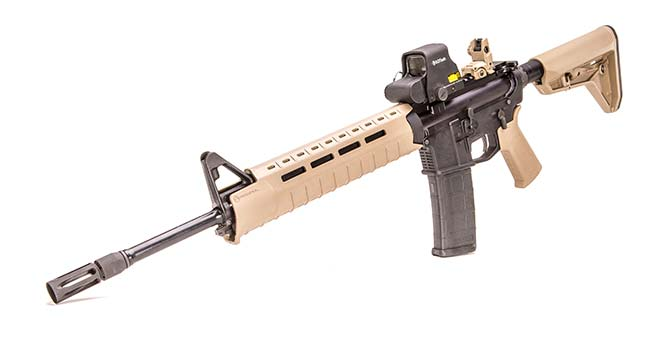 As carbine's name implies, Magpul accessories are prevalent.