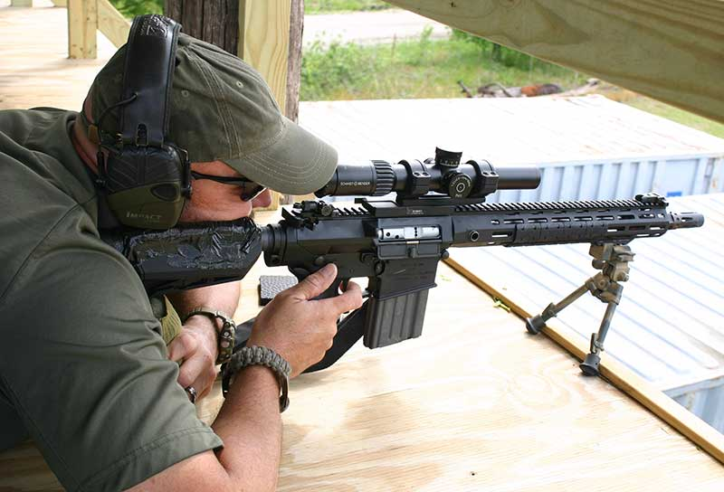James Ferguson fires Knight's SR-25 E2 ACC for accuracy from the bench with a bipod.