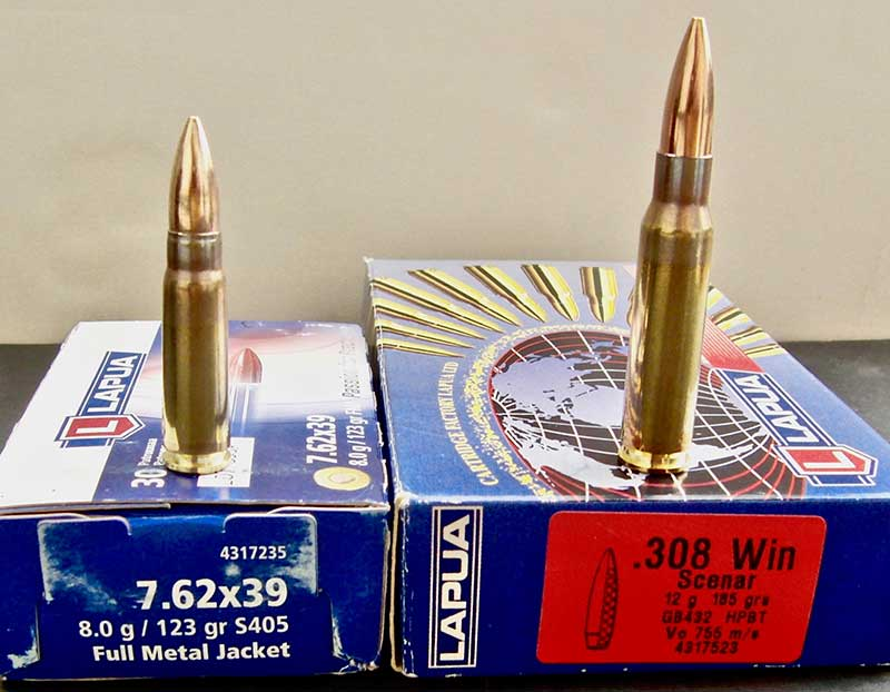 Two of Lapua loads tested by author: 7.62x39mm 123-grain (left) and .308 185-grain Scenar.